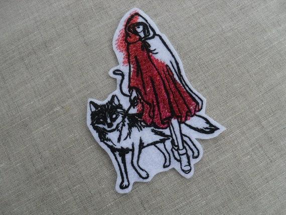 Rot Und Dem Wolf Stickerei Eisen Auf Patch, Rotkäppchen Haube Patch,  Rotkäppchen, Die Kapuze, Wunderland, Patches Für Kleidung