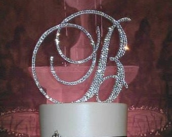 Gorgeous Swarovski Crystal Wedding Cake toppers 4'' in Any Letter monogram custom cake topper, bling cake topper, rhinestone cake topper