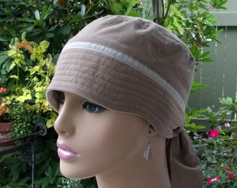 Women's Chemo Hats Chemo Headwear Cancer Caps Organic Cotton Chemo Cap Beige Hat Adjustable and Reversible MEDIUM