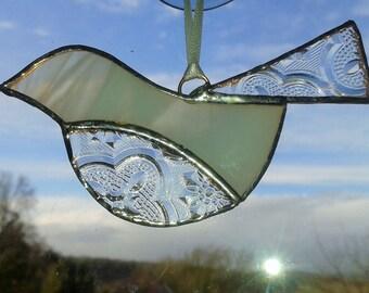 Stained Glass Bird Suncatcher, white bird decoration, bird ornament, Hanging bird decoration, Bird lover gift, Mothers day gift, glass bird