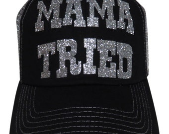 "NEW! Silver Glitter ""Mama Tried"" Black/Grey Trucker Cap"