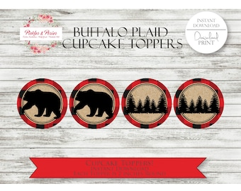 Buffalo Plaid Cupcake Toppers - Buffalo Plaid Cupcake Toppers - Buffalo Plaid Birthday Supplies - Printable - INSTAND DOWNLOAD