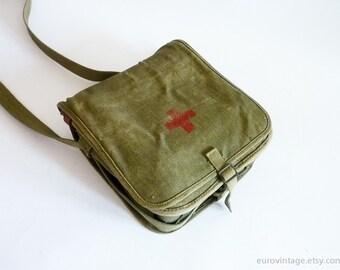 Vintage Red Cross Military Bag / Distressed Medical Bag / Military Messenger Green Canvas