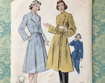 1950s Housecoat & Lounging Ensemble Sewing Pattern / Housedress Robe Slim Trousers Pajamas / Uncut / Butterick 5936 / Size 20 Bust 38