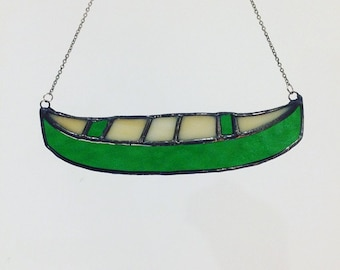 Stained Glass Canoe Ornament, Canoe Home Decor