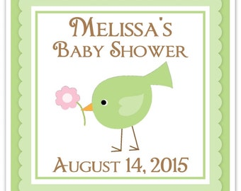 Baby Bird Baby Shower Labels, Baby Shower Stickers, Green Bird Square Baby Shower labels,  Custom Labels, Personalized Stickers