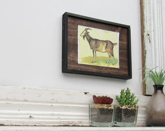 "farm animal - home decor - ""Rambunctious Goat""- country chic - kitchen farmhouse wall art"