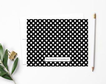 Personalized Note Card Set. Personalized Stationery. Polka Dot. Personalized Stationary. Notecards. Personalized Gift // NC101
