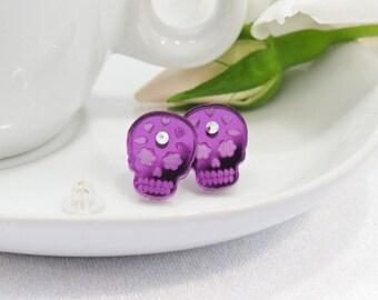 Purple Mirror Acrylic Etched Sugar Skull Stud Earring with Swarovski Crystal