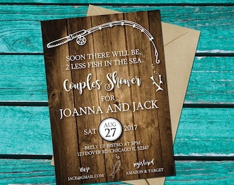 Fishing Invitation | Two Less Fish in the Sea | Couples Shower | Fishing Party | Fishing Shower Invite | Lakeside Shower | Nautical Bridal