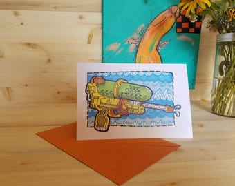 Super Soaker XXX Card/ You Make Me Wet Card/ Sexy Greeting Card/ Moist Between the Legs Card/ Erotic Card/ Sexual Arousal Card/ Sexy Wet Pun