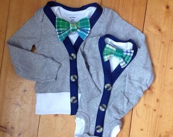 Cardigan Onesie, EASTER, Brothers matching set, Cardigan and Bow tie set, Boys Bow tie, Boys Easter,