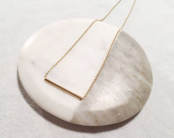 Tube Bar Necklace/ Thin Bar Necklace/ Delicate Goldfilled Necklace/Minimal Necklace