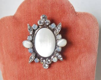 PEARL, REINSTONE PENDANT,and brooch