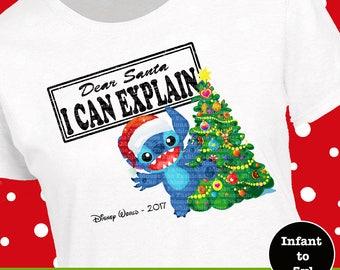 Disney Stitch Christmas Shirt, Disney Stitch Christmas Tee, Disney Santa Shirt, Disney Santa Tank, Disney Stitch Tank, Dear Santa Shirt