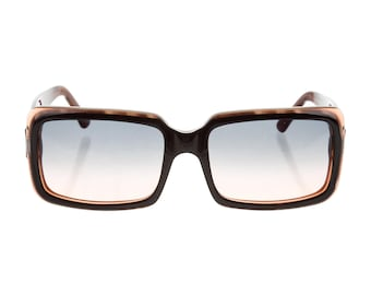 Versace Y2K 90s Thick Rectangular / Square Classic Brown Marbled Geometric Vintage Mod Sunglasses - Unisex
