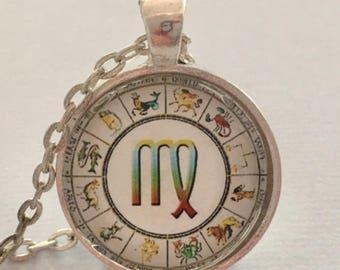 VIRGO glass pendant necklace, Astrology necklace, Virgo jewellery, Silver astrology necklace