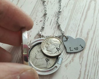 15 year anniversary gift 15th anniversary jewelry 2003 coins locket gift for wife 2003 wedding anniversary necklace heart stamp for her