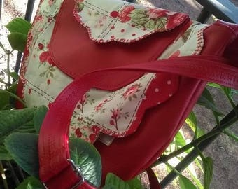 """Bag """"flower of day"""" in red leatherette and liberty"""