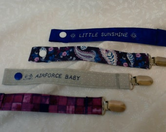 Air Force baby pacifier clip set