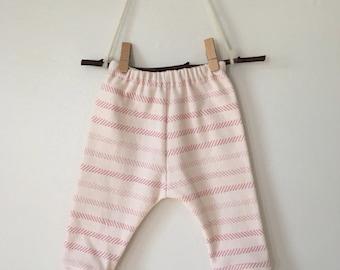 pink striped organic cotton leggings//baby pants//toddler leggings//toddler pants//organic leggings