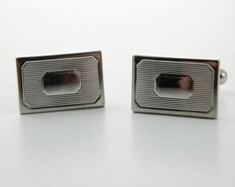 Silver Rectangular Cuff Links - CL015
