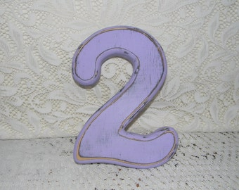 """Wooden Number 2  Birthday Photo Prop Distressed Shabby Chic 7"""" Wood Numbers"""