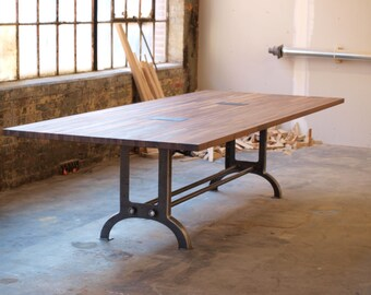 Large Walnut industrial Conference or Dining room Table