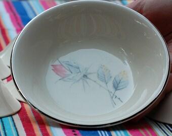 Canonsburg China - Princess Grace Pattern - Gray and Pink Rose - Berry Bowls - Set of 7