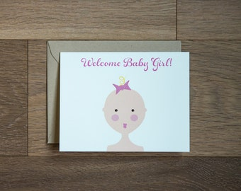 Welcome Baby Girl card with shimmer pink bow, baby shower card new mom girl pink glitter
