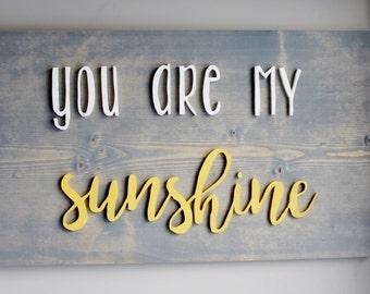 you are my sunshine, nursery sign, nursery decor, kids room decor, nursery wall decor