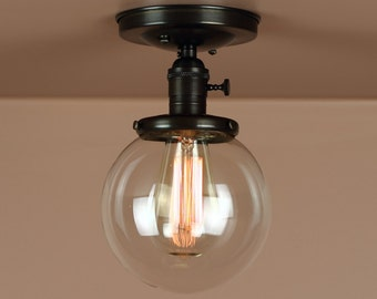 Semi Flush Light w/ 6 inch Clear  Glass Globe - Hand Finished Brass - Lighting for Low Ceilings - Downrod Option