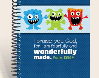 Personalized Notebook - Silly Faces - Blue Wonderfully Made