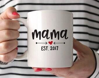 New Mom Gift Baby Shower Gift for Mom Mama Established 2017 New Mother Gift New Mom Gift from Friend Mom Mug Mug Mom Birthday Gift Red Mug