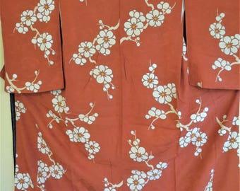 Kimono Japanese Antique Showa Silk Kimono Elegant Komon Silk Kimono Classic Ume Plum Blossom Brick Red Mon Kinsha Showa Japanese Silk Kimono