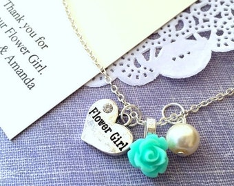 SPRING SALE Rose, flowergirl, flower girl, child, necklace. Comes with personalized card and ORGANZA bag.