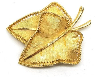 30% Off Sale BSK Golden Figural Leaves Pin Signed BSK