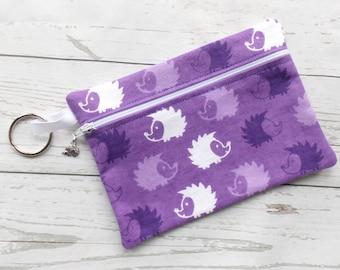 Hedgehog Cosmetic Bag - Hedgehog Pencil Case - Hedgehog Crayon Bag - Purple Hedgehog Purse - Hedgehog Make Up Bag - Hedgehog Lover Gift