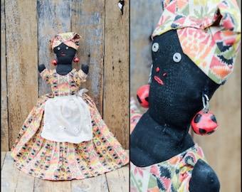 Doll, Old Doll, Cloth Doll, Rag Doll, Black Doll, Folk Art Primitive Doll, Voo Doo Doll, Homemade Cloth Doll, Old Black Cloth Doll,