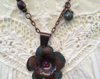 Copper and teal flower necklace