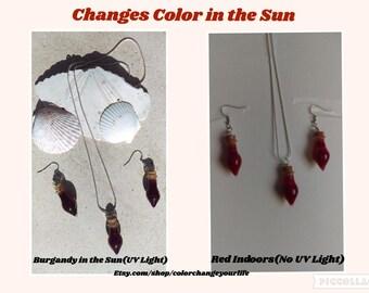 color change earrings corked teardrop glass potion bottle dangle earring sun solar actived