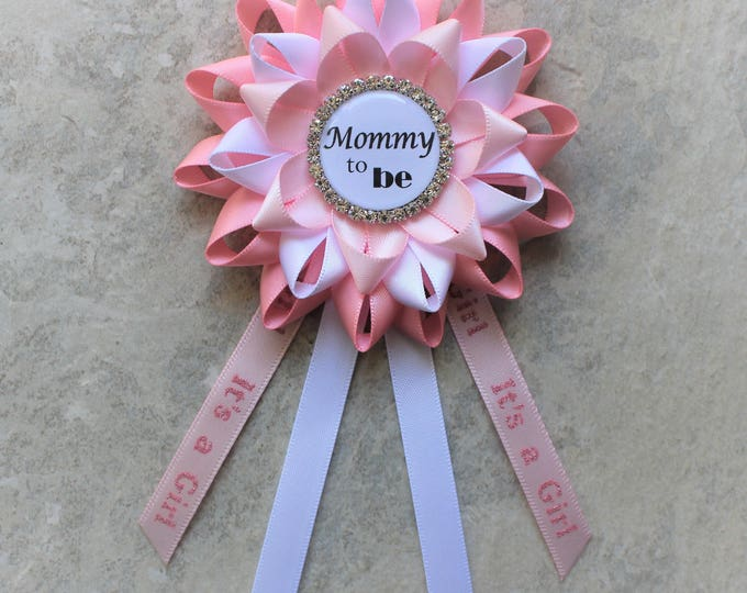 Its a Girl Pin, Baby Shower Corsage, Pale Pink, White, Baby Shower Decorations, Baby Girl Shower Decor, Mommy to Be Corsage, New Mom