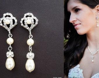 pearl bridal earrings, wedding rhinestone earrings, chandelier earrings, statement bridal earrings, pearl rhinestone earrings,  EVELINA
