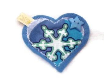 Frozen Brooch. Winter Brooch.  Heart Jacket Pin.  Womens accessory. CLEARANCE SALE