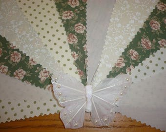 "3m Pretty Green, Light Beige & Cream ""Sadie"" Fabric Wedding Bunting"