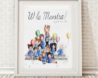 RITRATTO di MAESTRA/Teacher portrait,regalo di fine anno