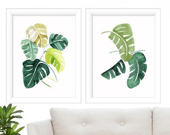 Watercolor Leave Prints - Print Set of 2 - Tropical Print - Tropical Leave Prints - Nature Print - Art Print Set - Prints - Wall Art Print