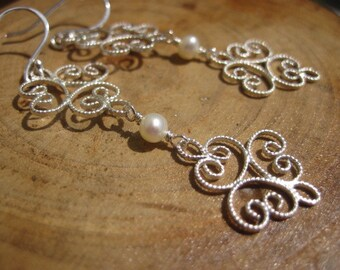 Artisan Filigree Sterling Silver Pearl Chandelier Earrings