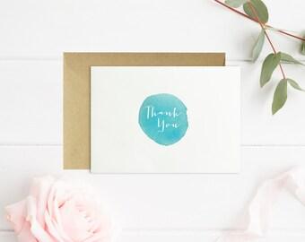 Thank You Watercolor Card // Thank You Card // Size A2 // Blank Inside // Blue Aqua