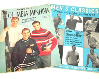 Vintage Men's Sweater Patterns, Two Books, Columbia Minerva